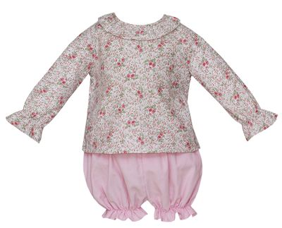 Petit Bebe Baby / Toddler Girls Pink Floral / Corduroy Bloomers Set - Long Sleeves
