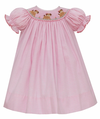 Petit Bebe Baby / Toddler Girls Pink Gingham Smocked Puppy Dogs Bishop Dress