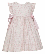 Petit Bebe Baby / Toddler Girls Pink Liberty Floral Dress with Bows
