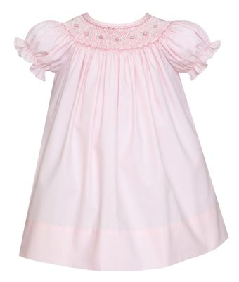 Petit Bebe Baby / Toddler Girls Pink Poplin Dress - Bishop