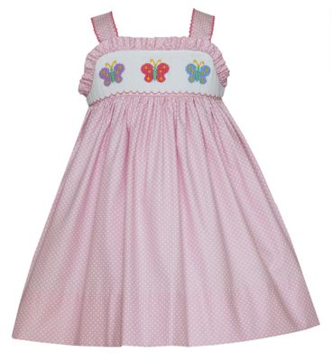 Petit Bebe Baby / Toddler Girls Pink / White Dots Smocked Butterflies Sun Dress