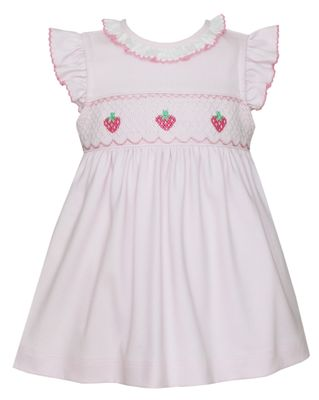 Petit Bebe Baby / Toddler Girls Pink Knit Smocked Strawberries Dress