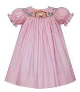 Petit Bebe Baby / Toddler Girls Pink / White Dots Smocked Christmas Nativity Dress - Bishop
