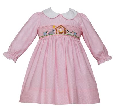 Petit Bebe Baby / Toddler Girls Pink / White Dots Smocked Christmas Nativity Dress - Long Sleeves