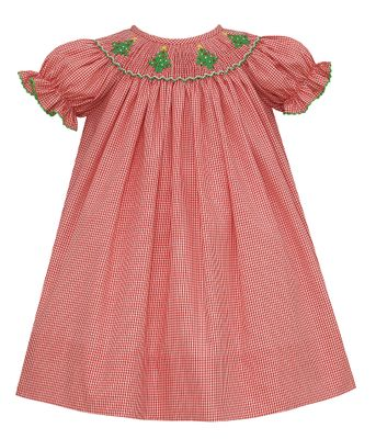 Petit Bebe Baby / Toddler Girls Red Check Bishop Dress - Smocked Christmas Trees