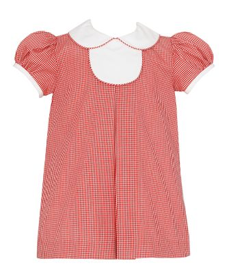 Petit Bebe Baby / Toddler Girls Red Check Float Dress - Collar & Tab