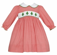 Petit Bebe Baby / Toddler Girls Red Check Smocked Christmas Trees Dress - Collar & Long Sleeves