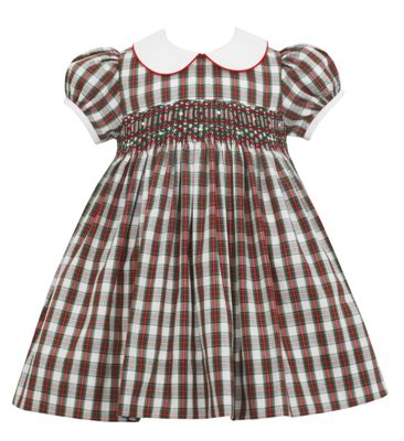 Petit Bebe Baby / Toddler Girls Red Holiday Plaid Smocked Dress with Collar