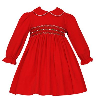 Petit Bebe Baby / Toddler Girls Red Corduroy Smocked Christmas Dress - Long Sleeves