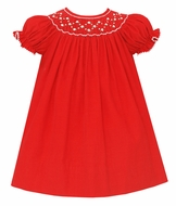 Petit Bebe Baby / Toddler Girls Red Corduroy Smocked Dress - Bishop