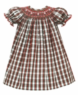 Petit Bebe Baby / Toddler Girls Red / Green Holiday Plaid Dress - Smocked Bishop