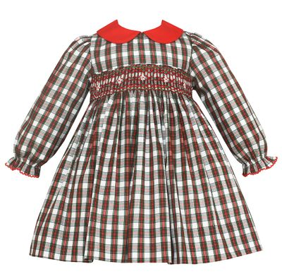 Petit Bebe Baby / Toddler Girls Red / Green Holiday Plaid Dress - Smocked - Long Sleeves - Red Collar