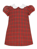 Petit Bebe Baby / Toddler Girls Red Holiday Plaid Float Dress - Scallop Collar