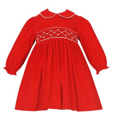 Petit Bebe Baby / Toddler Girls Red Corduroy Smocked Dress - Collar & Long Sleeves