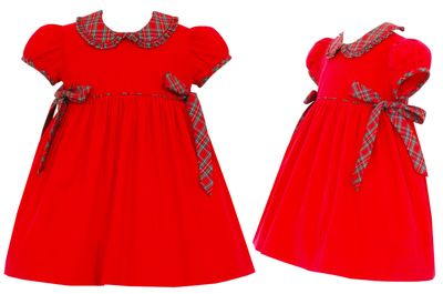 Petit Bebe Baby / Toddler Girls Red Corduroy Christmas Dress - Holiday Plaid Bows at Sides