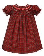 Petit Bebe Baby / Toddler Girls Red Holiday Plaid Smocked Bishop Dress