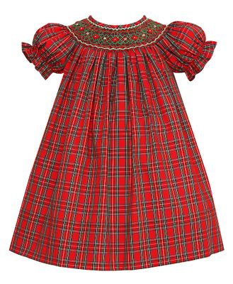 Petit Bebe Baby / Toddler Girls Red Holiday Plaid Smocked Bishop Dress - Exclusively at The Best Dressed Child