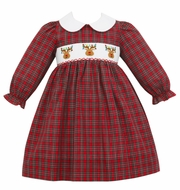 Petit Bebe Baby / Toddler Girls Red Holiday Plaid Smocked Reindeer Dress with Collar & Long Sleeves