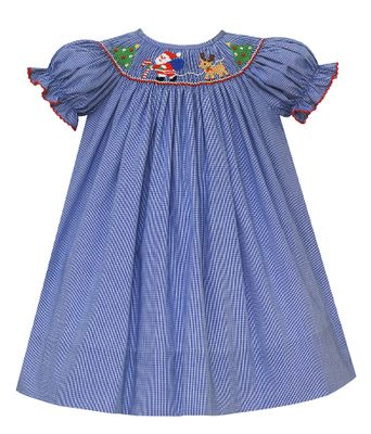 Petit Bebe Baby / Toddler Girls Royal Blue Check Bishop Dress - Smocked Santa