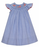 Petit Bebe Baby / Toddler Girls Royal Blue Check Smocked Patriotic Flags Bishop Dress