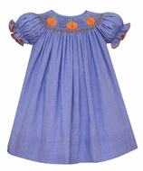 Petit Bebe Baby / Toddler Girls Royal Blue Check Smocked Pumpkins Dress