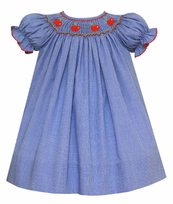 Petit Bebe Baby / Toddler Girls Royal Blue Check Smocked Red Apples School Dress