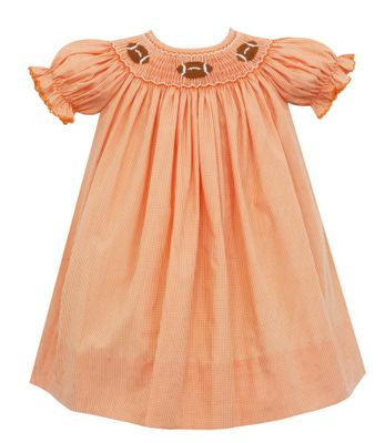 Petit Bebe Baby / Toddler Girls Smocked Footballs Dress - Orange Check