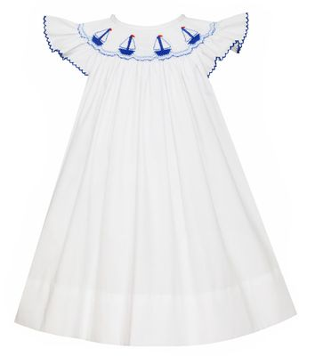 Petit Bebe Baby / Toddler Girls White Poplin Angel Wing Dress - Smocked Blue Sailboats