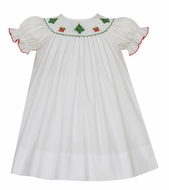 Petit Bebe Baby / Toddler Girls White Poplin Bishop Dress - Smocked Christmas Trees & Gifts