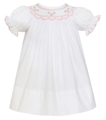 Petit Bebe Baby / Toddler Girls White Poplin Bishop Dress - Smocked in Pink