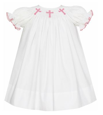 Petit Bebe Baby / Toddler Girls White Poplin Bishop Dress - Smocked Pink Crosses