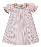 Petit Bebe Baby / Toddler Girls White / Red Dots Smocked Christmas Reindeer Bishop Dress