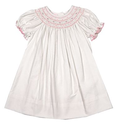Petit Bebe Baby / Toddler Girls Winter White Corduroy Bishop Dress - Smocked in Pink