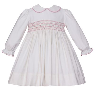 Petit Bebe Baby / Toddler Girls Winter White Corduroy Dress - Long Sleeves - Smocked in Pink