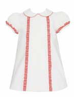 Petit Bebe Baby / Toddler Girls Winter White Corduroy Float Dress - Red Check Ruffles