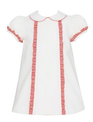 3c9000fabb3 Petit Bebe Baby   Toddler Girls Winter White Corduroy Float Dress - Red  Check Ruffles