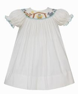 Petit Bebe Baby / Toddler Girls Winter White Corduroy Smocked Nativity Manger Scene - Bishop Dress