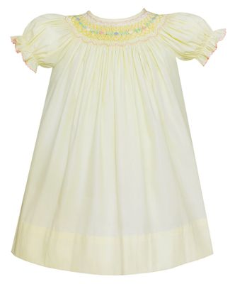 Petit Bebe Baby / Toddler Girls Yellow Poplin Smocked Bishop Dress