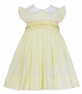 Petit Bebe Baby / Toddler Girls Yellow Poplin Smocked Dress with Collar