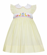 Petit Bebe Baby / Toddler Girls Yellow Poplin Smocked Noah's Ark Dress
