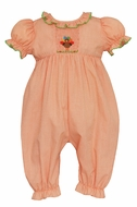 Petit Bebe Infant Girls Orange Check Smocked Thanksgiving Turkey Romper
