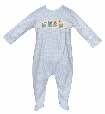 Petit Bebe Knits Baby Boys Blue Gingham Footie - Smocked Toy Parade