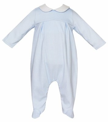 Petit Bebe Knits Baby Boys Blue Mini Check Footie with Collar