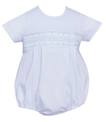 Petit Bebe Knits Baby Boys Blue Smocked Bubble