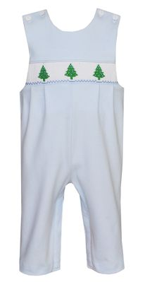 Petit Bebe Knits Baby Boys Blue Smocked Christmas Trees Longall