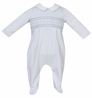 Petit Bebe Knits Baby Boys Blue Smocked Footie with Collar