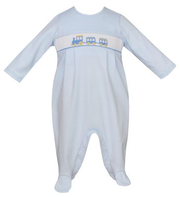 Petit Bebe Knits Baby Boys Blue Smocked Trains Footie