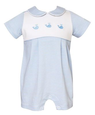 Petit Bebe Knits Baby Boys Blue Stripe Embroidered Whales Bubble
