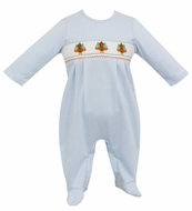 Petit Bebe Knits Baby Boys Blue Stripe Knit Smocked Turkeys Footie