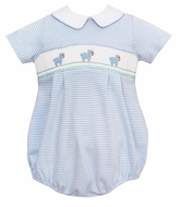Petit Bebe Knits Baby Boys Blue Stripe Smocked Baby Lambs Bubble with Collar